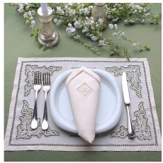 Hand embroidered linen placemats