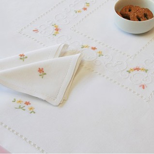 hand embroidered tea tablecloths