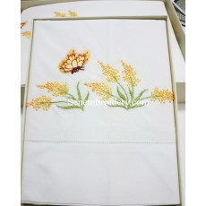 Bedding flowers-butterfly hand embroidered
