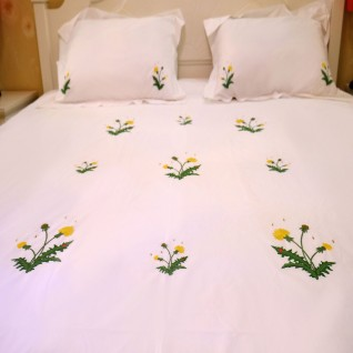 Bedding Dandelion flowers hand embroidered