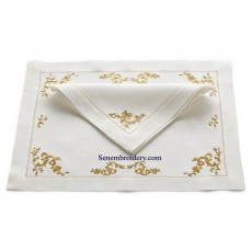 hand embroidery napkins in gold thread