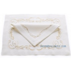 hand embroidery napkins in gold lamé