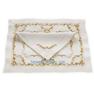 Gold hands embroidered napkins